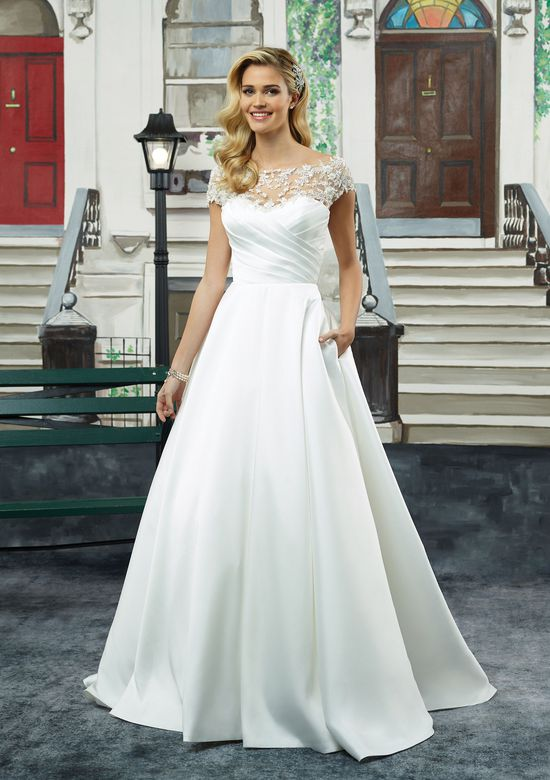 Justin Alexander Style 8943 Mikado Ball Gown with Ruched Bodice and Cap Sleeves