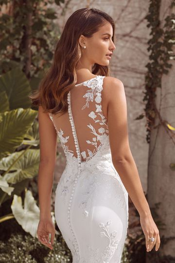 Justin Alexander Style 88143 Arya Crepe Gown with Illusion Plunge and Hand Beaded appliqués