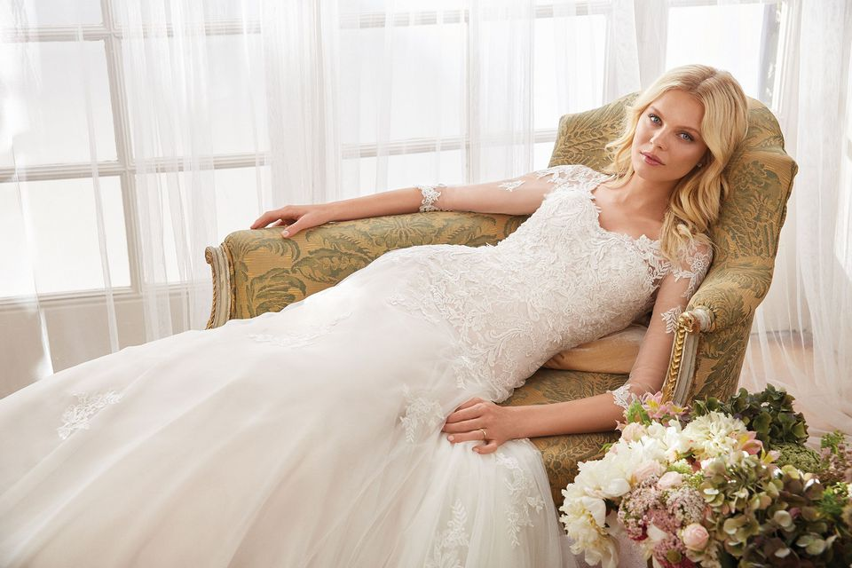 Sincerity style 44095 Lace A-line Gown paired with a Queen Anne Jacket