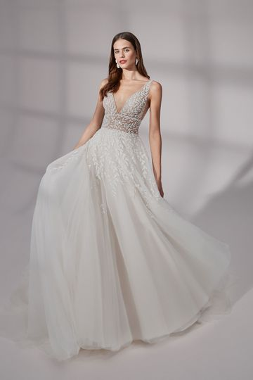 Justin Alexander Signature Style 99183 Cumberland Deep V-Neck Ball Gown with Illusion Bodice