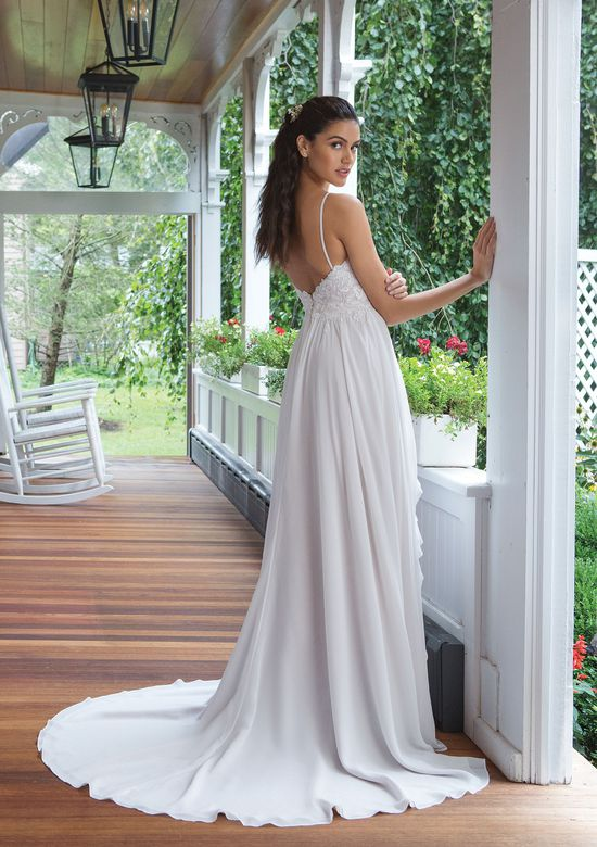 Sweetheart Gowns Style 11074 Slim A-line Chiffon Gown with Sequined Lace Bodice