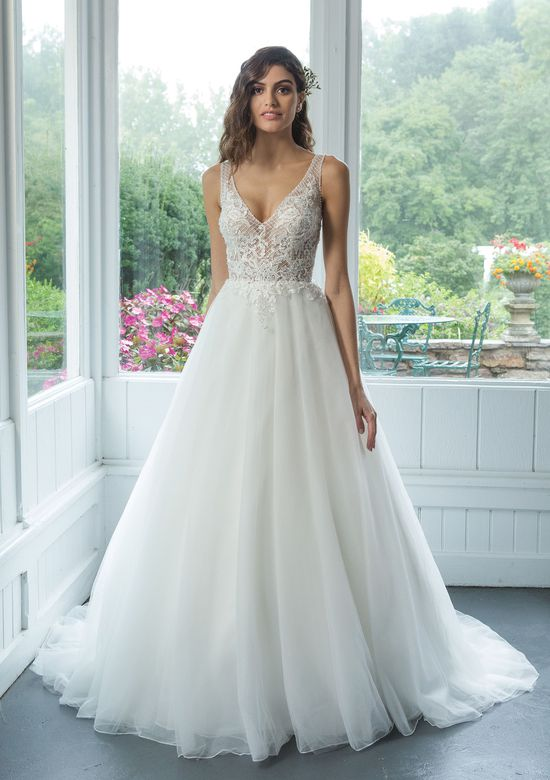 Sweetheart style 11070 Illusion V-Neckline Beaded Lattice Lace Ball Gown