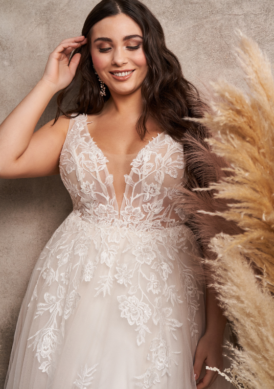 Lillian West Style 66063 Sequined Lace A-Line Gown with Chapel Length Train
