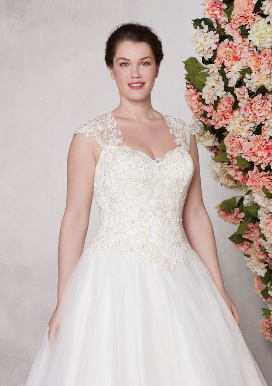 Sincerity Bridal Style 3982 Beaded Corded Lace and Tulle Ball Gown with Queen Anne Neckline