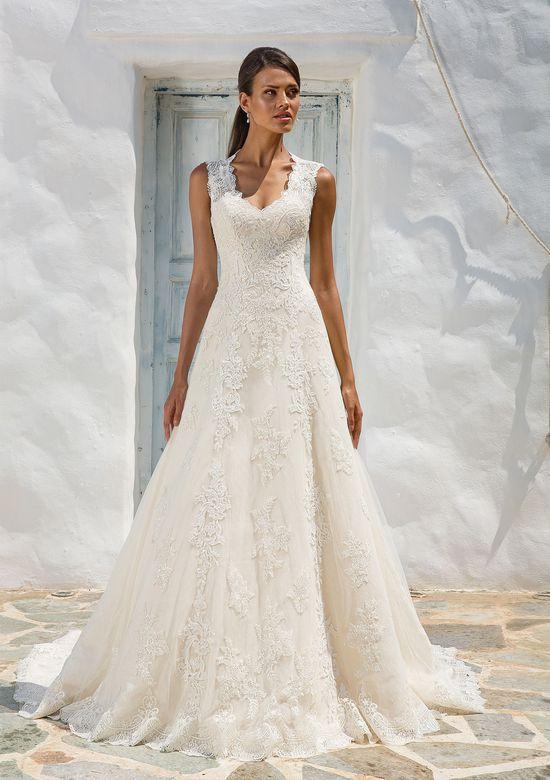 Justin Alexander  Queen Anne Neckline Lace A-Line Bridal Gown