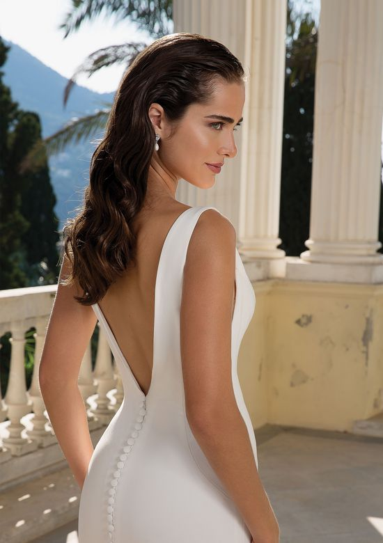 Justin Alexander Style 88094 Clean Fit and Flare Gown with Deep V Back