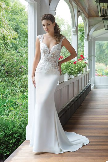 Sweetheart Gowns Style 11049 Fit and Flare Crepe Gown with Illusion Lace Bodice