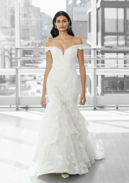 Justin Alexander Signature Style 99129 LAMAR Beaded Mermaid Dress with Ruffle Skirt and Venice Lace