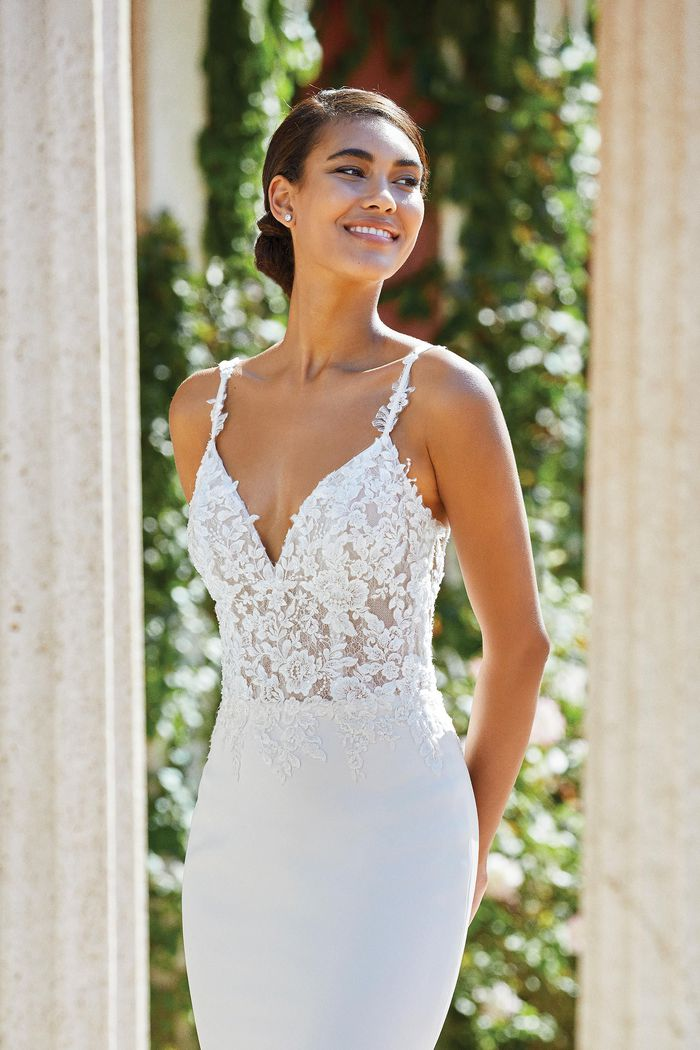 Sincerity Bridal Style 44190 Embroidered Lace and Crepe Fit and Flare Gown with Jersey Lining