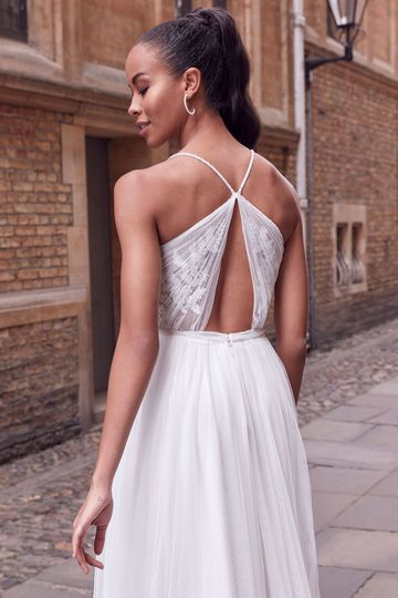 Adore by Justin Alexander Style 11182 Chara English Net A-Line Dress with Beaded Illusion Jewel Neckline