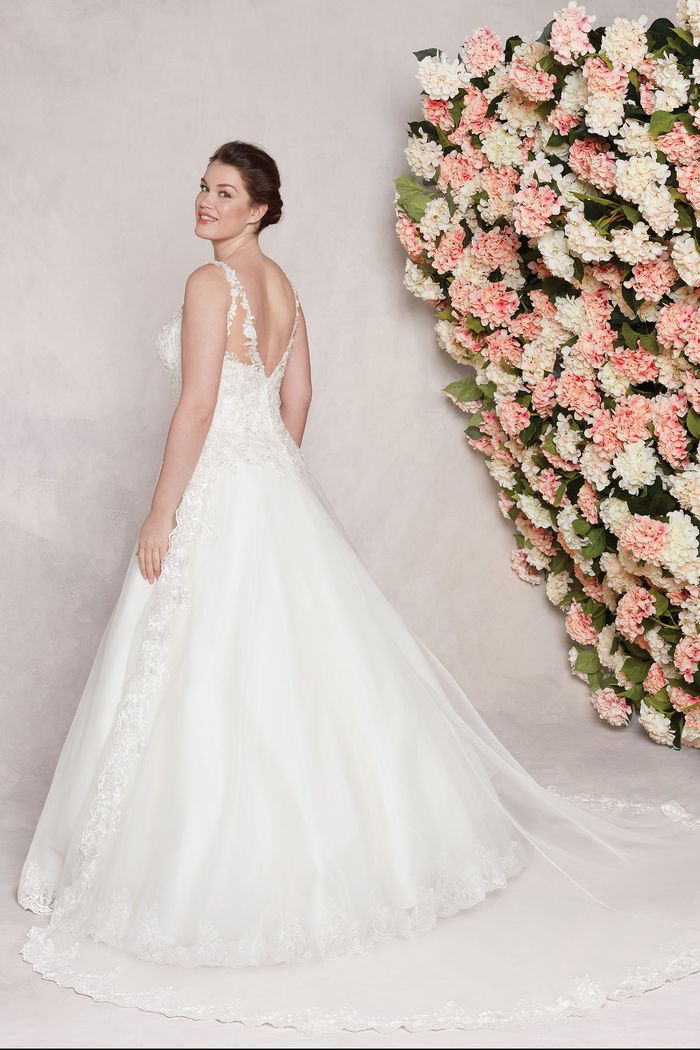 Sincerity style 44116 Illusion Sabrina Organza A-Line Gown with Lace Appliques plus size