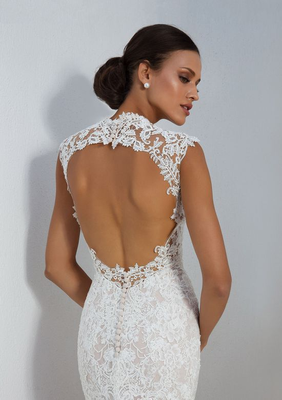 Justin Alexander Style 88006 Allover Lace Fit and Flare Gown with Open Back