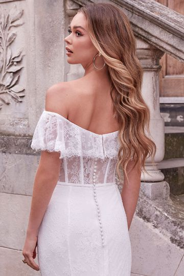 Adore by Justin Alexander Style 11183 Anabella Chantilly Lace Wedding Dress with Off the Shoulder Flutter Sleeve