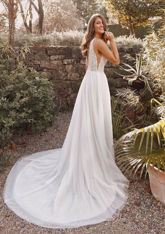 Justin Alexander Style 88155 Adelise Beaded Gown with Plunging Neckline and Galaxy Sparkle Tulle