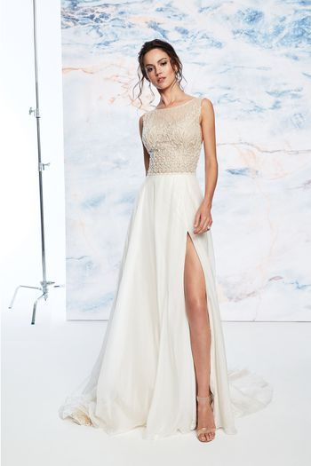 Justin Alexander Signature Style 99078 Sabrina Beaded Illusion Bodice Dress with Slit