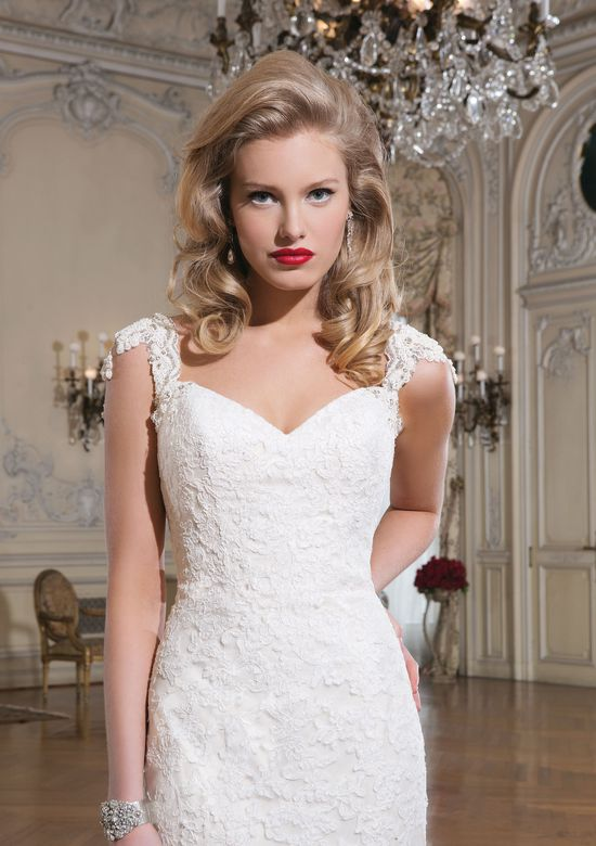 Justin Alexander Style 8758 Lace Fit and Flare Open Back Dress with Cap Sleeves
