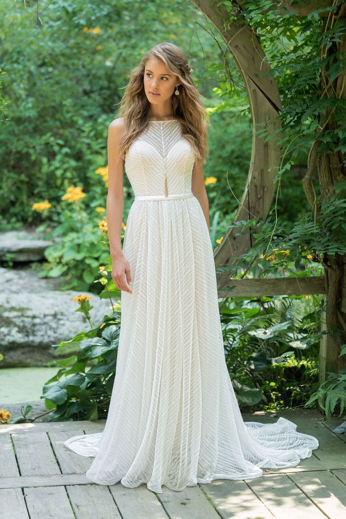 Lillian West style 66015 Modified Jewel Neck Slim A-Line in Allover Lace