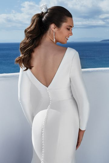 Justin Alexander Style 88168 Brigitte Long Sleeve Stretch Mikado Fit and Flare Gown