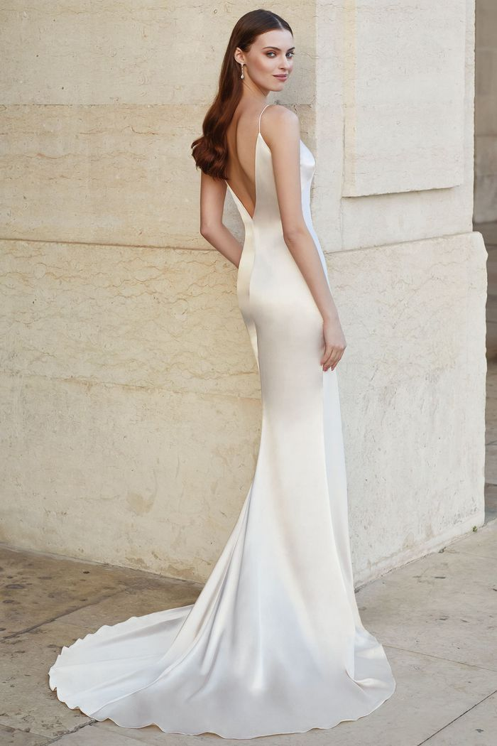 Adore by Justin Alexander Style 11159 Charmeuse Slip Dress with Spaghetti Straps