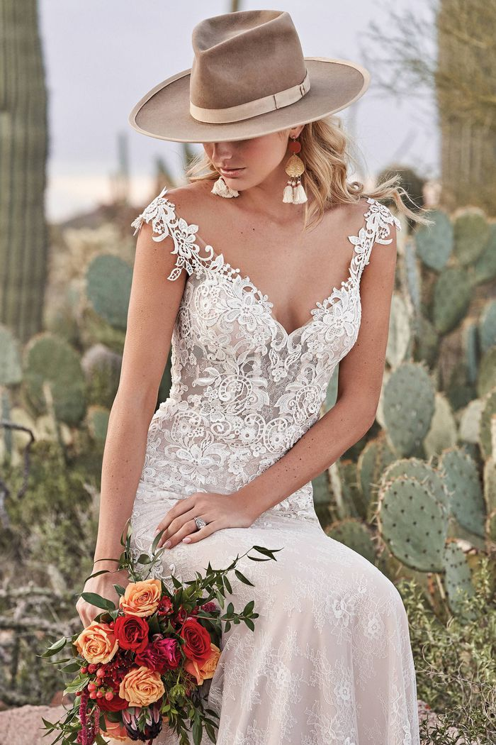Lillian West Style 66012 Natural Waist Fit and Flare with Lace Details