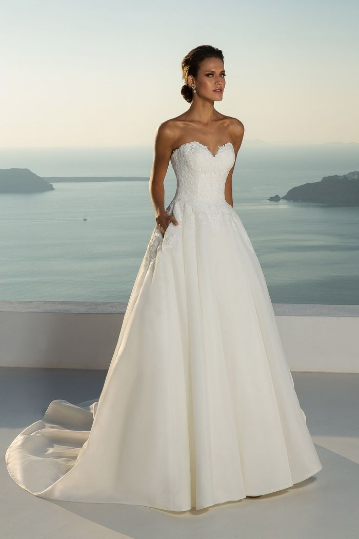 Justin Alexander Style 88012 Strapless Lace Bodice and Organza Ball Gown