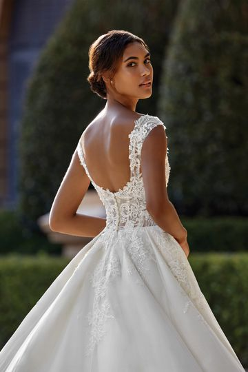 Sincerity style 44151 Open Sweetheart A-Line Gown with Tulle and Beaded Lace Appliques
