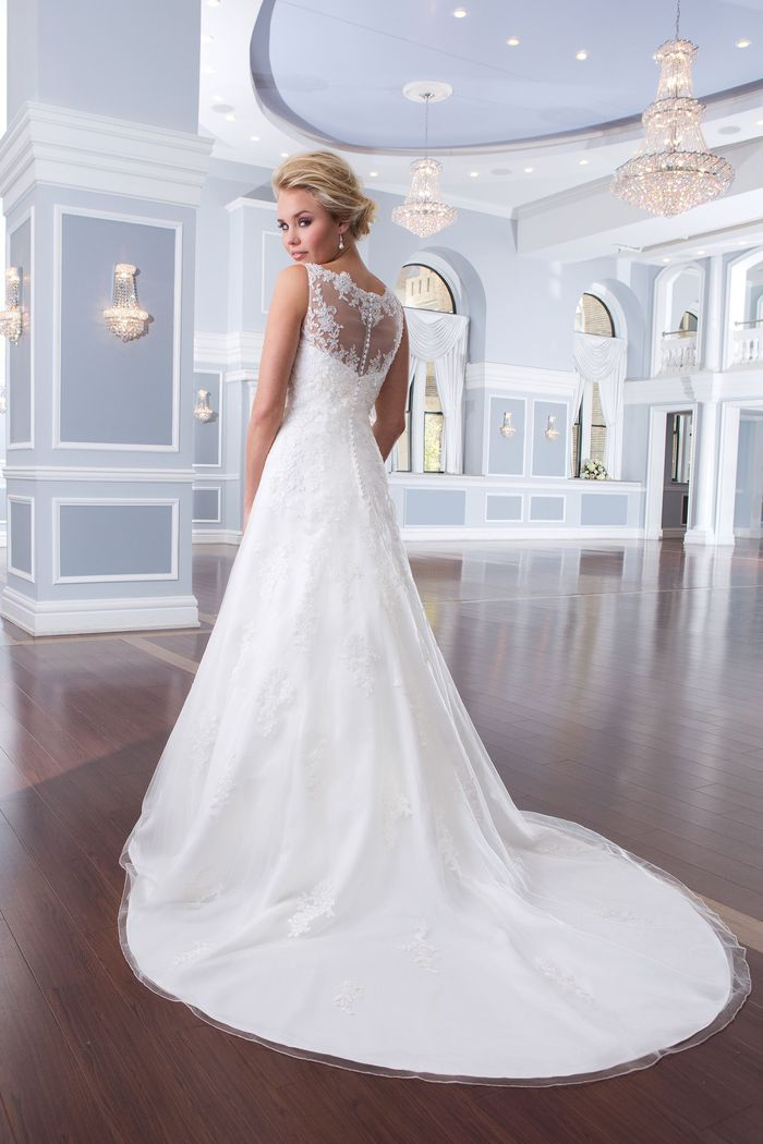 Lillian West Style 6300 Tulle and Beaded Lace A-Line Gown with Sabrina Neckline