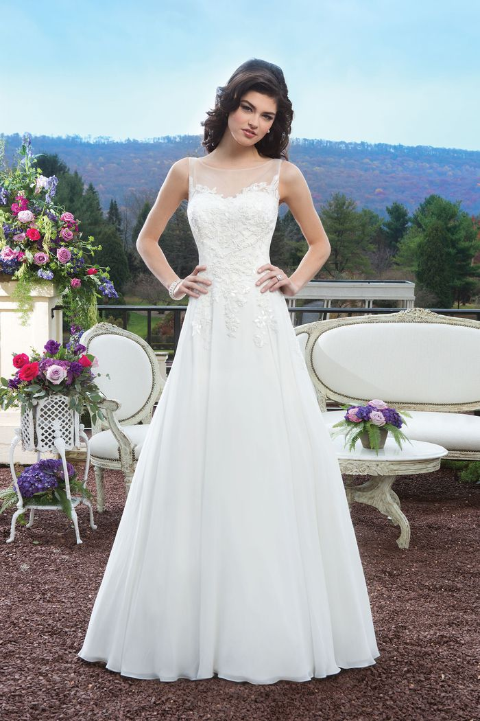 Sincerity Bridal Style 3807 Lace A-line dress complemented by a Sabrina neckline