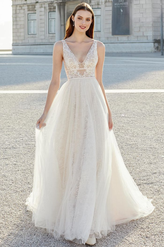 Adore by Justin Alexander Style 11160 English Net A-Line Gown Accented with Sequined Chantilly Lace