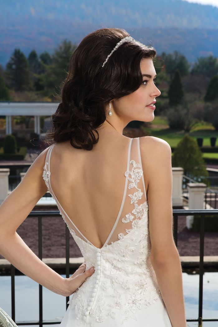 Sincerity Bridal Style 3811 Beaded lace A-line dress embellished with a V-neck neckline