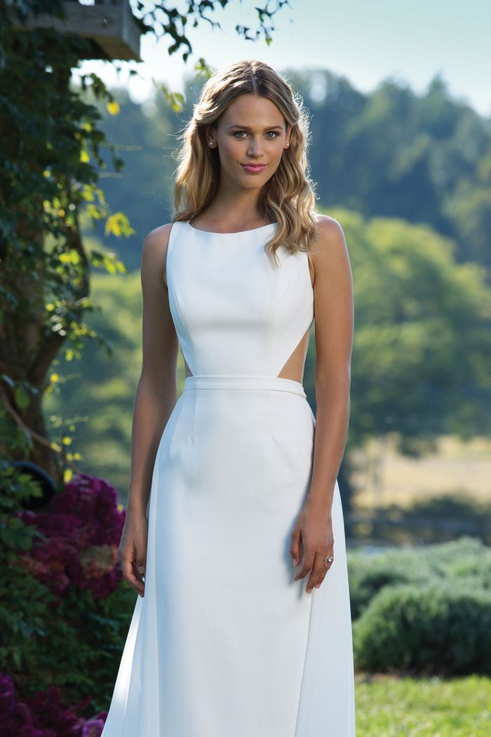 Sincerity Bridal Style 3984 Crepe Column Dress with Illusion Cut Outs and Detachable Chiffon Train