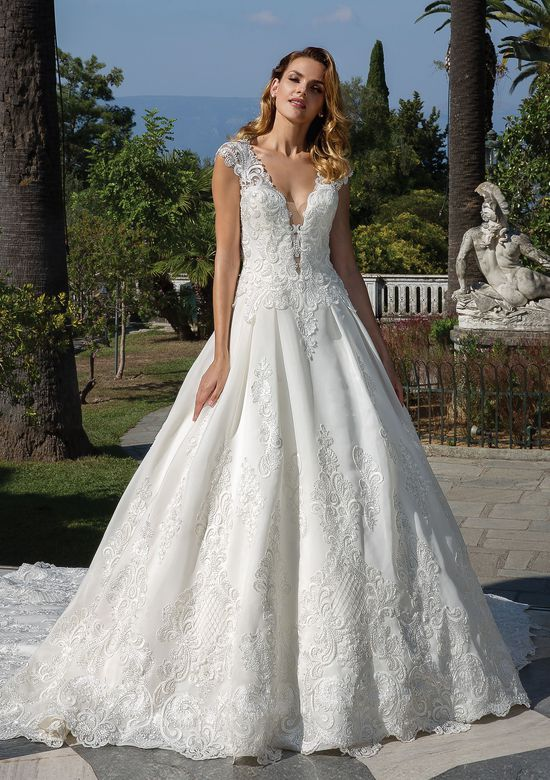 Justin Alexander Style 88096 Organdy Ball Gown with Plunging Neckline