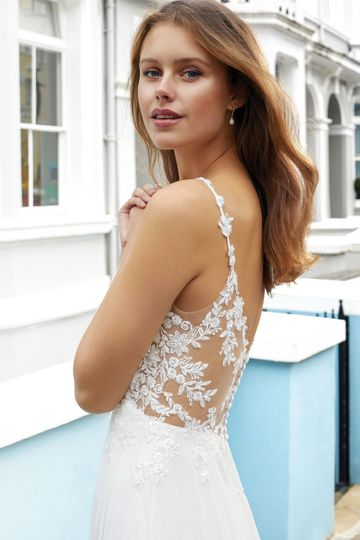 Adore by Justin Alexander Style 11103 Chiffon and Beaded Lace A-Line Gown with Illusion Sides and Back