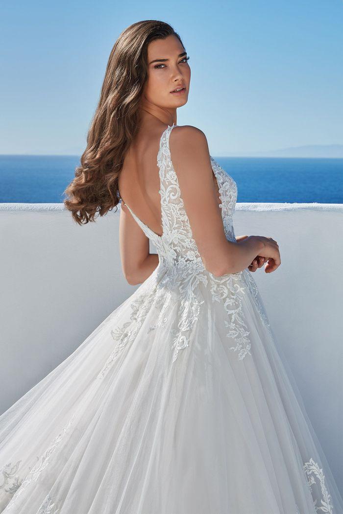 Justin Alexander Style 88198 Bianca Deep V-Neck Ball Gown with Lace Cummerbund