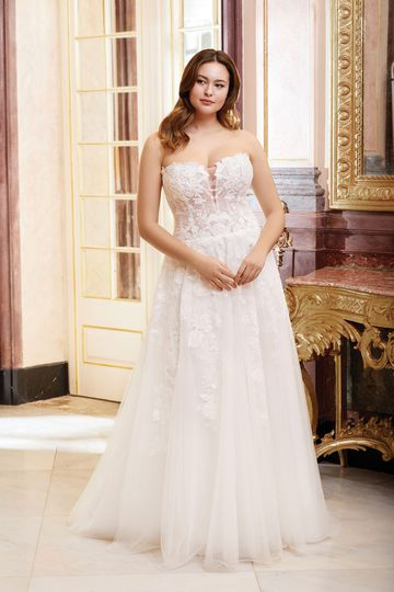 Sincerity Bridal Style 44073PS Sweetheart Illusion Bodice with Floral Lace Appliqués Plus Size Dress