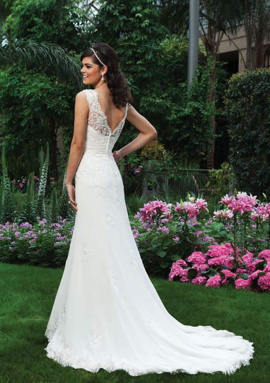 Sincerity Bridal Lace Sabrina Neckline Fit and Flare Dress
