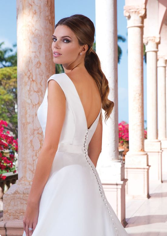 Sweetheart Gowns Style 6047 Sabrina Notch Neckline with Cap Sleeves Gown