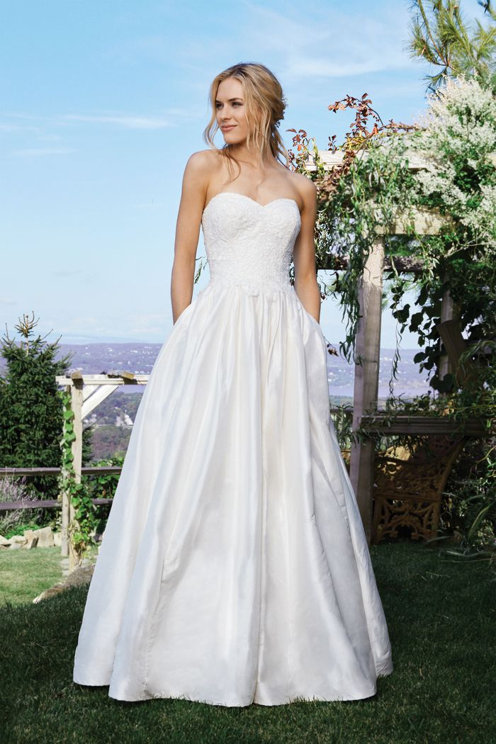 Lillian West Style 6436 Natural Silk Ball Gown with Pockets and Lace Sweetheart Bodice