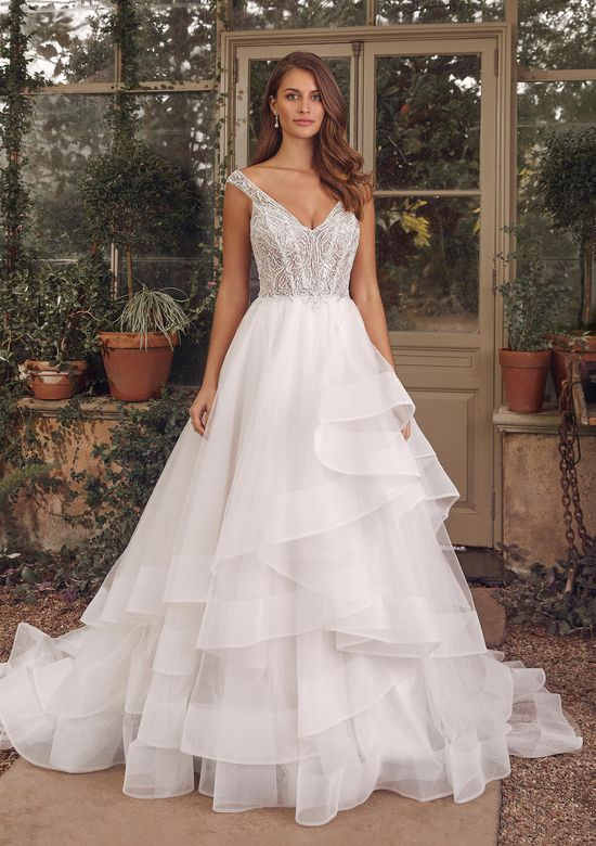 Justin Alexander Style 88160 Adeline Beaded Ball Gown with Tiered Skirt and Horsehair
