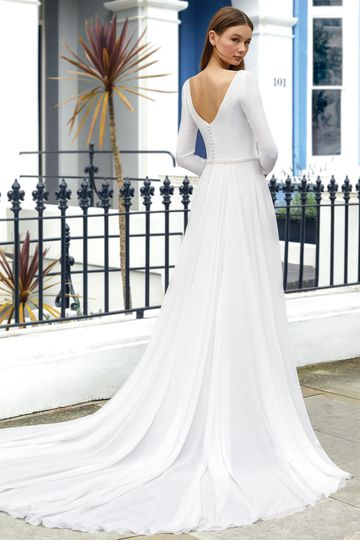 Adore by Justin Alexander Style 11102 High-Low Dress with Long Sleeves and Beaded Waist