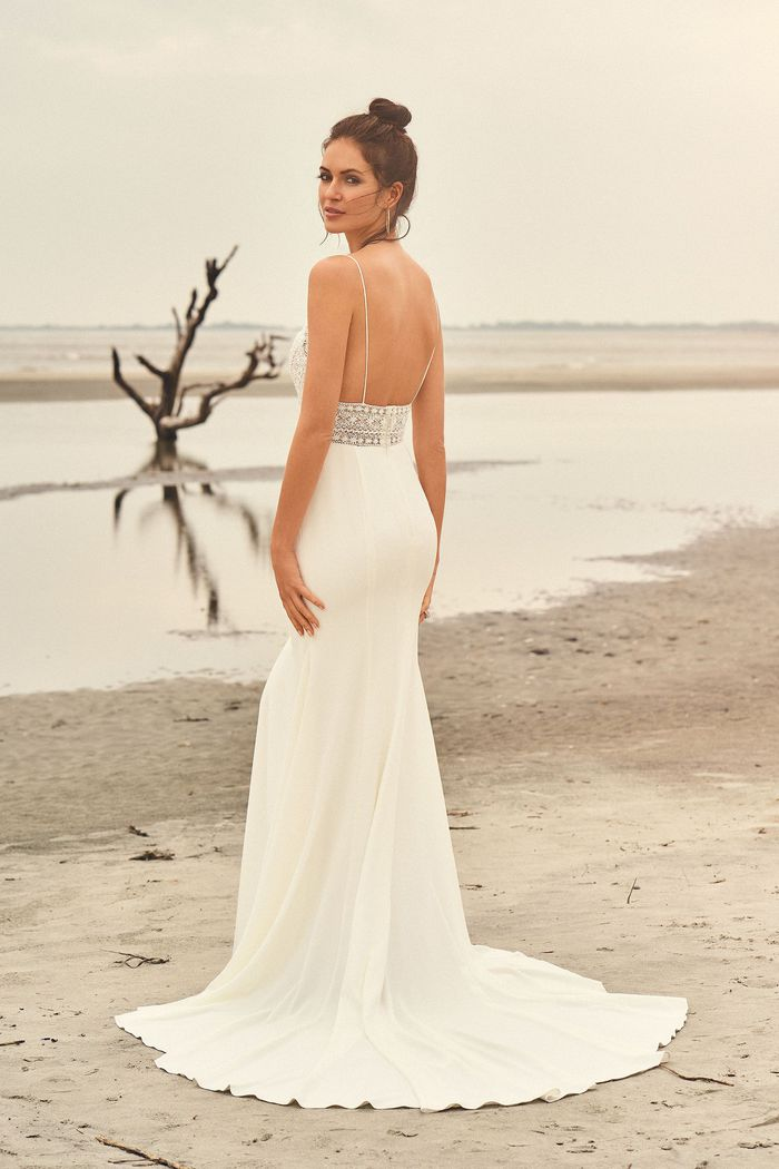 Lillian West Style 66099 Spaghetti Strap Beaded Bodice with Crepe Skirt