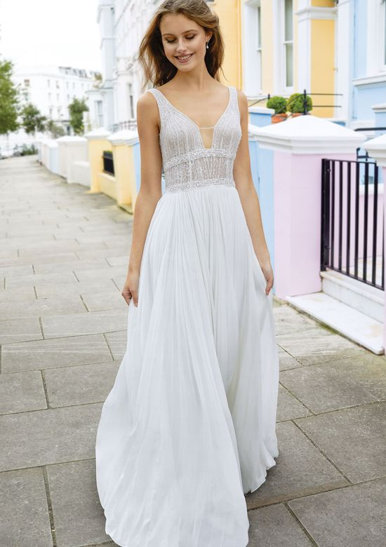 Adore by Justin Alexander Style 11119 A-Line Gown with Pleated Chiffon Skirt and Beaded Lace Bodice