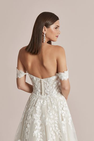 Justin Alexander Style 88219 Carlee A-Line Dress with Detachable Off the Shoulder Straps and Slit