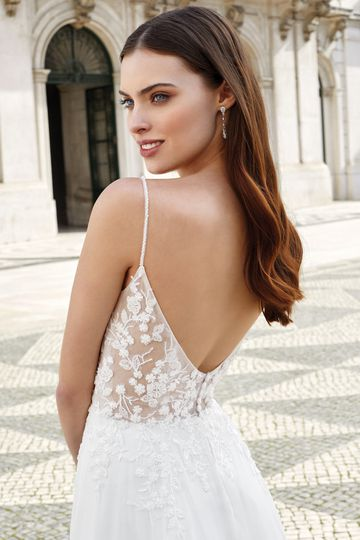 Adore by Justin Alexander Style 11145 Illusion Bodice A-Line Dress with Plunging V-Neck