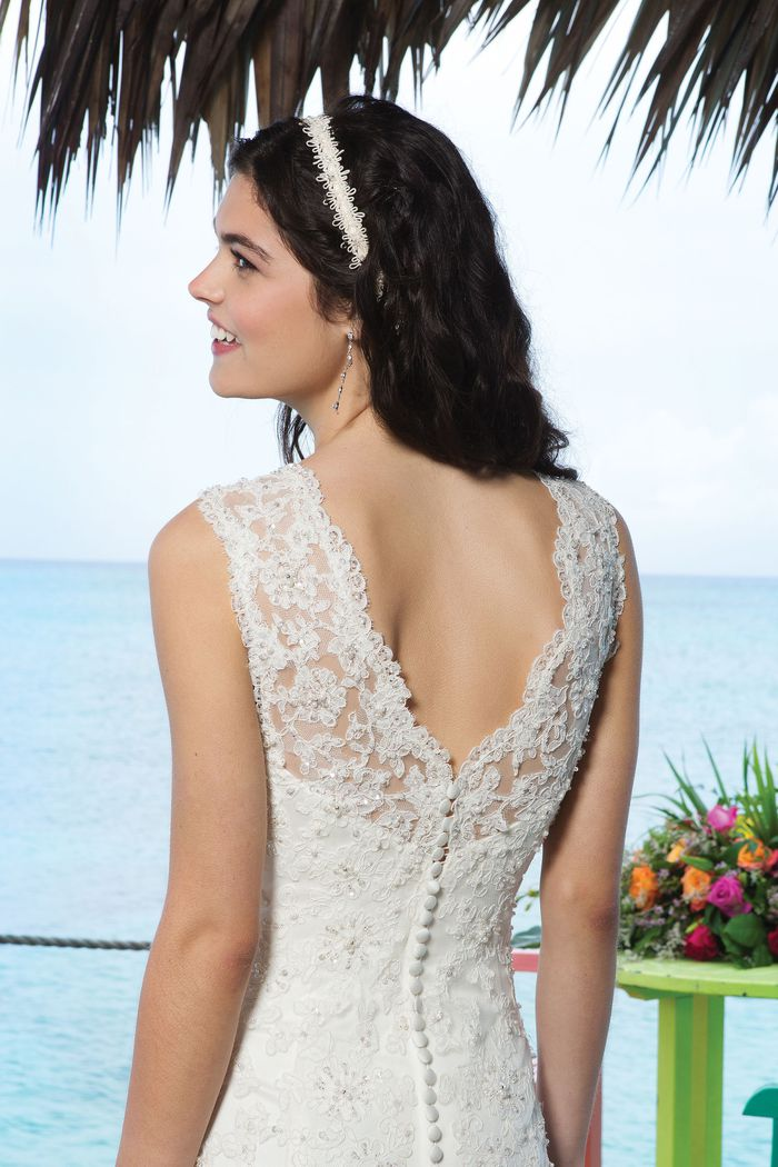 Sincerity Bridal Style 3770 Beaded lace trumpet dress accentuated with a modified sweetheart neckline