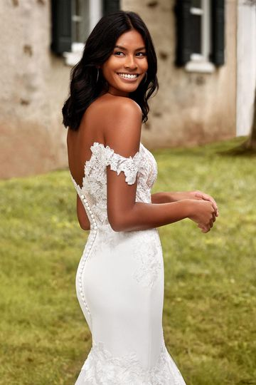 Sincerity Bridal Style 44271 Off the Shoulder Satin Trumpet Bridal Gown with Full Tulle Skirt