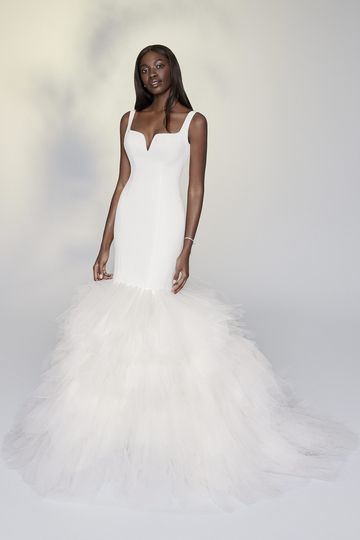 Justin Alexander Signature Style 99193 Phyllida Luxe Satin Mermaid Gown with Tulle Handkerchief Skirt