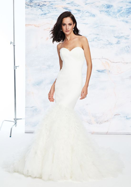 Justin Alexander Signature Style 99059 Clean Satin Sweetheart Gowns Style  Gowns Style ns Style ns Style n with Pleated Trumpet Skirt