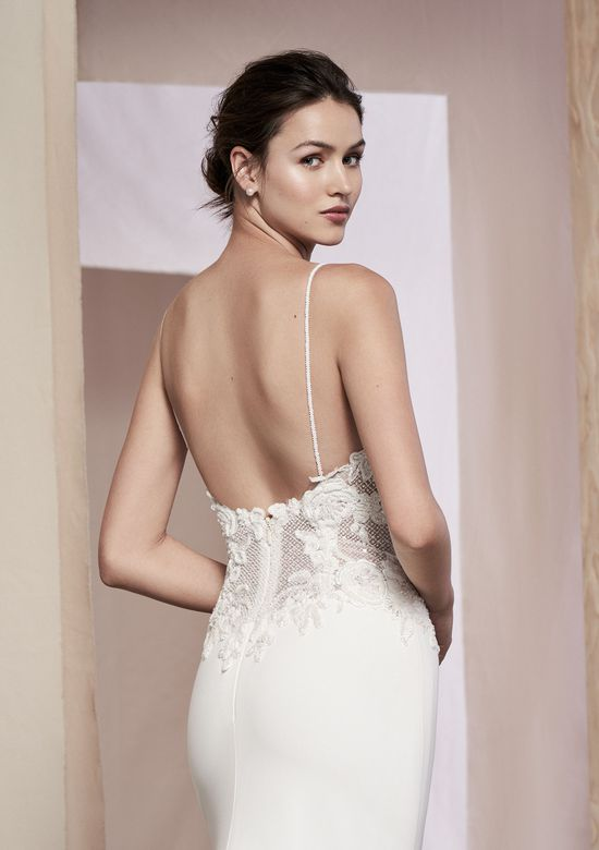 Justin Alexander Signature Style 99102 Danica Bikini Embroidered Bodice Crepe Fit and Flare Gown