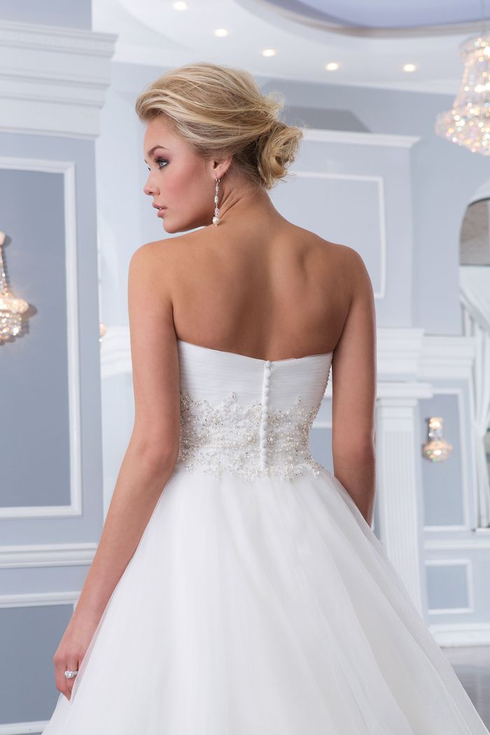 Lillian West Style 6303 Tulle Ball Gown with Beaded Cummerbund